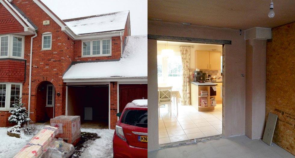 The existing home before and during the work: The home had a double garage  with