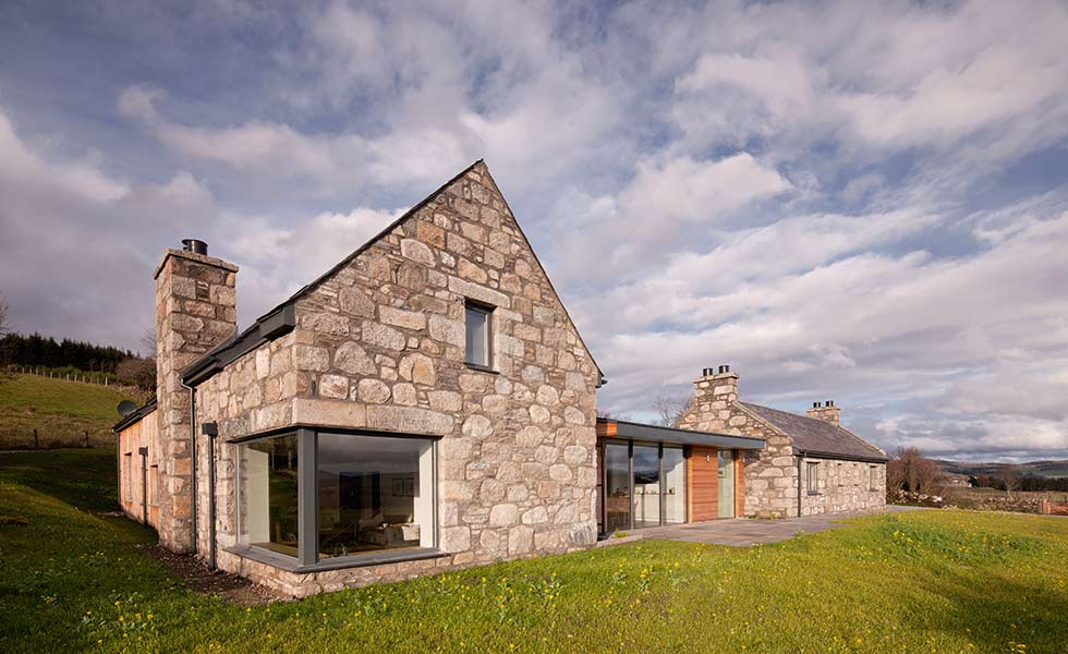 Reclaimed stone on a croft house in Scotland