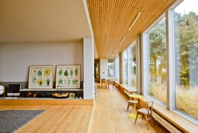 Contemporary timber cladding on ceiling