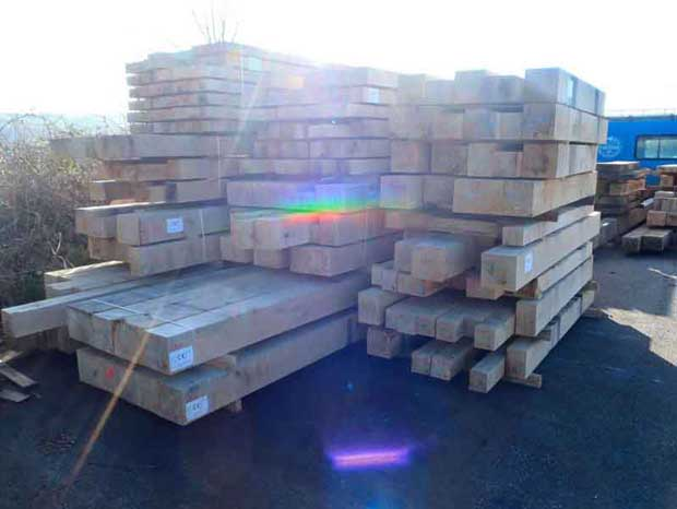 Oak frame timbers in the yard