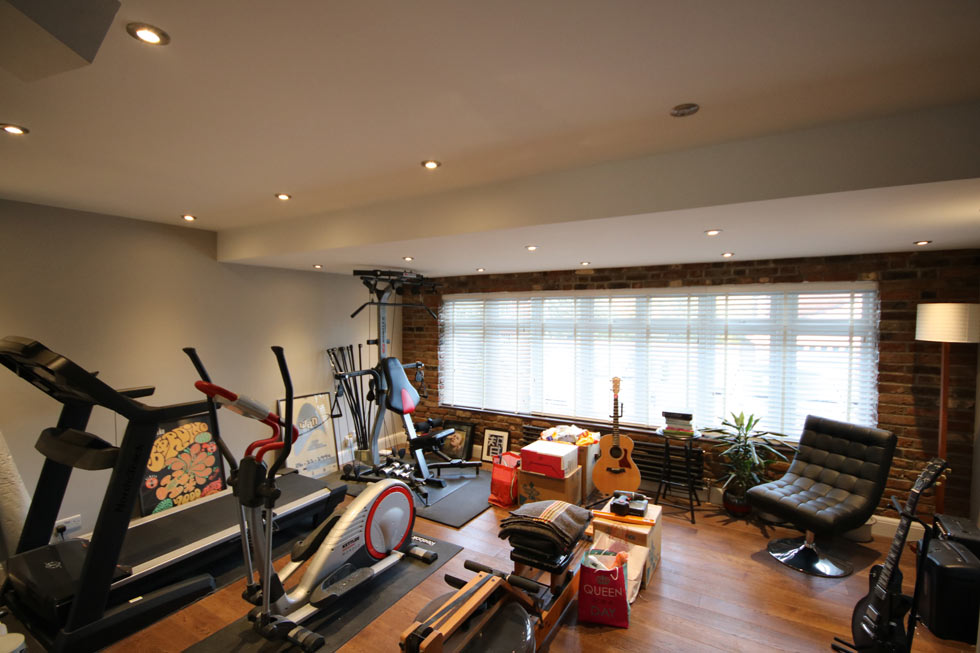 Home gym in a garage conversion