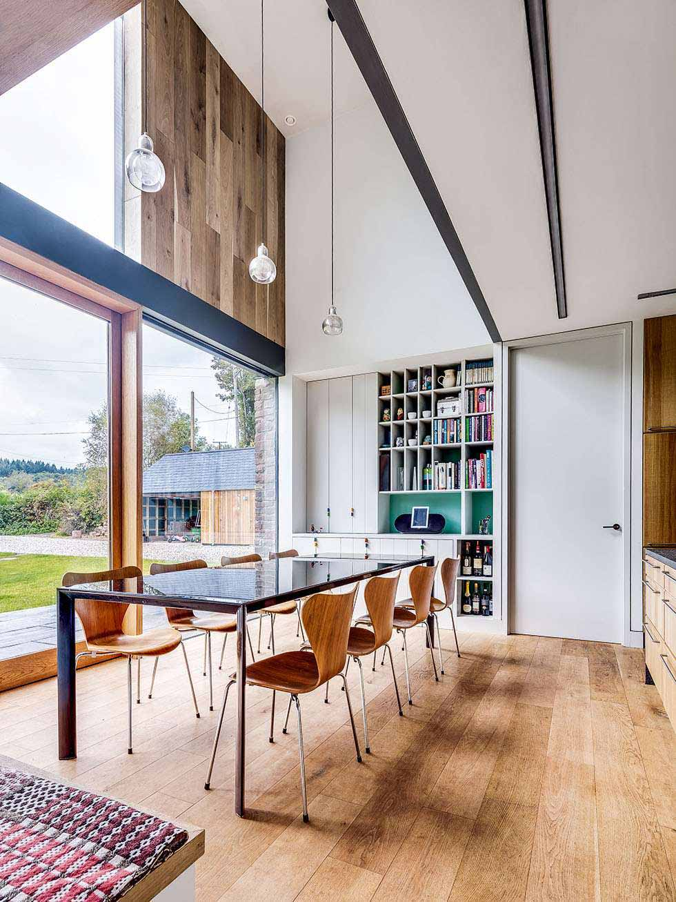 Double Height Dining Space With Engineered Floorboards