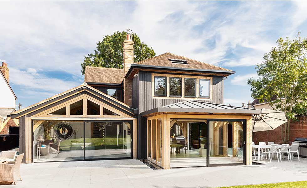 Contemporary oak frame home by Oakwrights