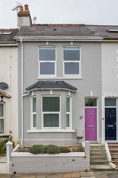 traditional renovation of a terraced home in Plymouth with a grey exterior
