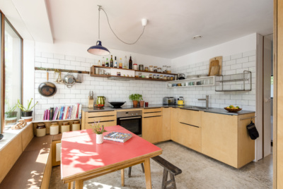 kitchen in a small budget self build with open shelving