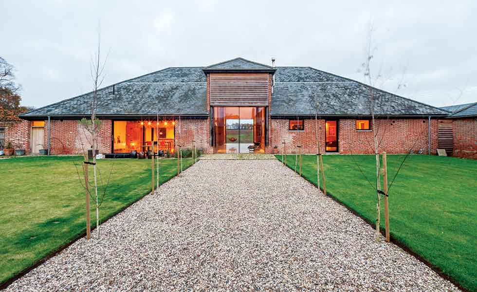 brick barn converted into a family home