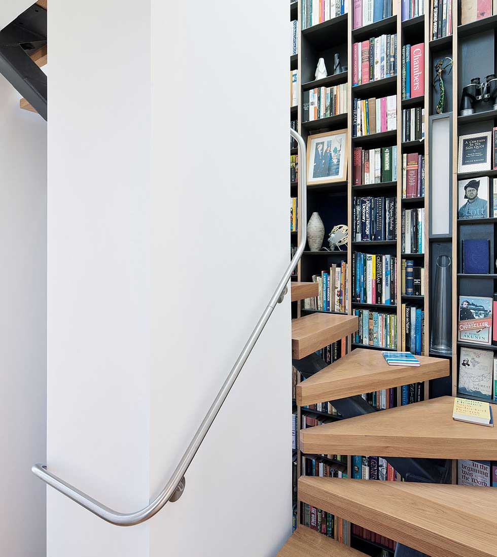 The spiral staircase with built-in storage