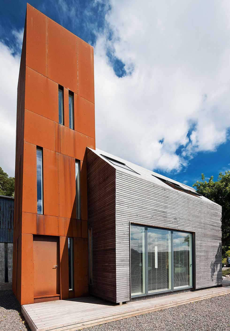 Part of the extension is clad in low-maintenance weathering steel