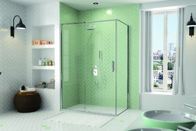 modern shower enclosure with sliding door