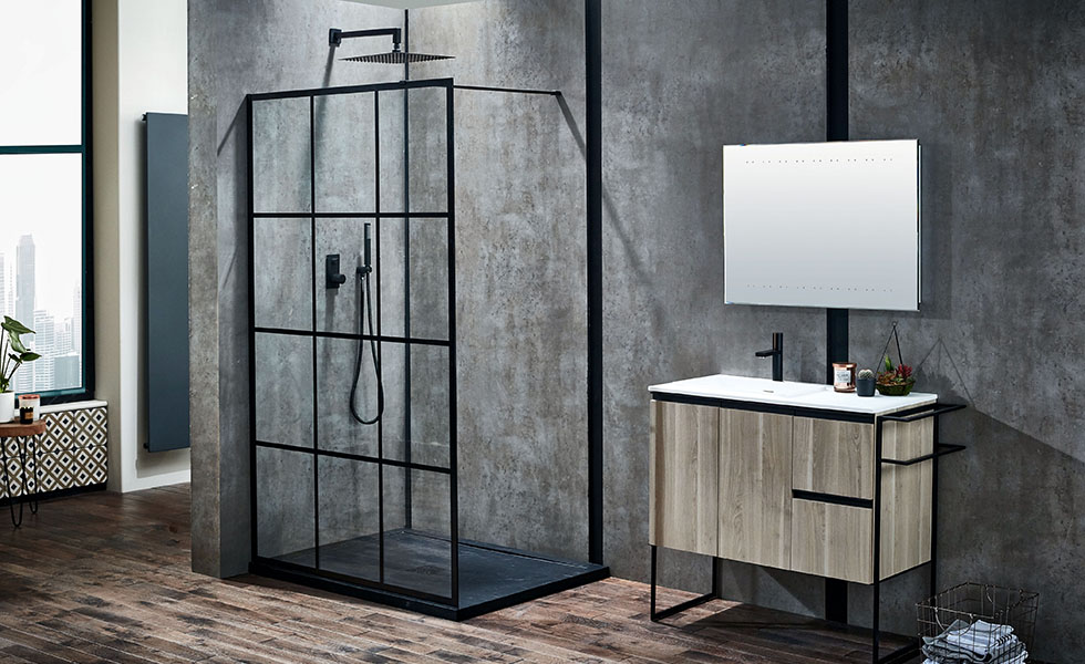 contemporary shower enclosure with black lining walk in