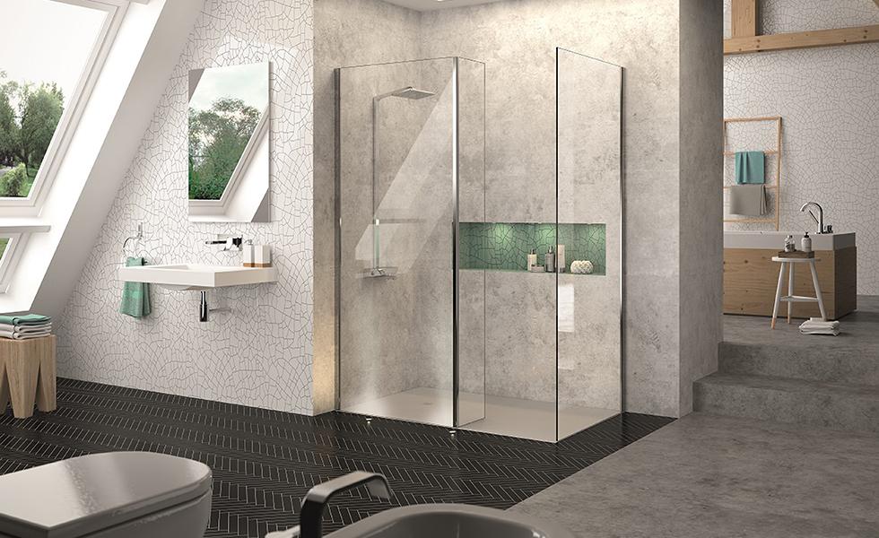 glass shower enclosure in bathroom walk in