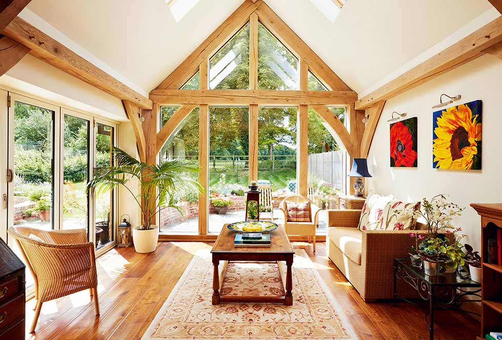 Rooflights in the vaulted ceiling and a glazed gable end ensure lots of natural light floods into the dayroom