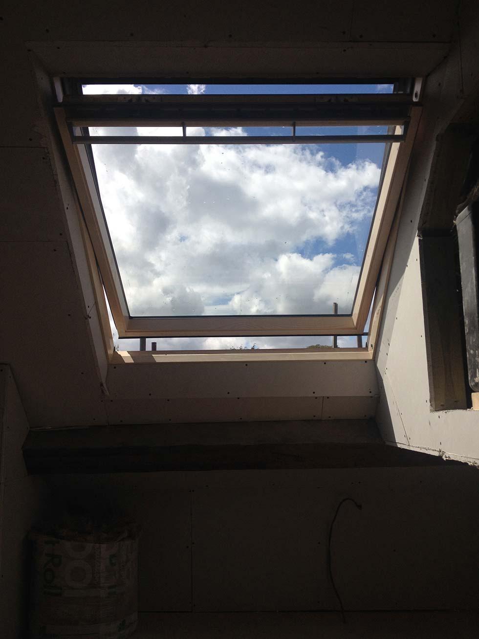 Large velum rooflight in loft conversion