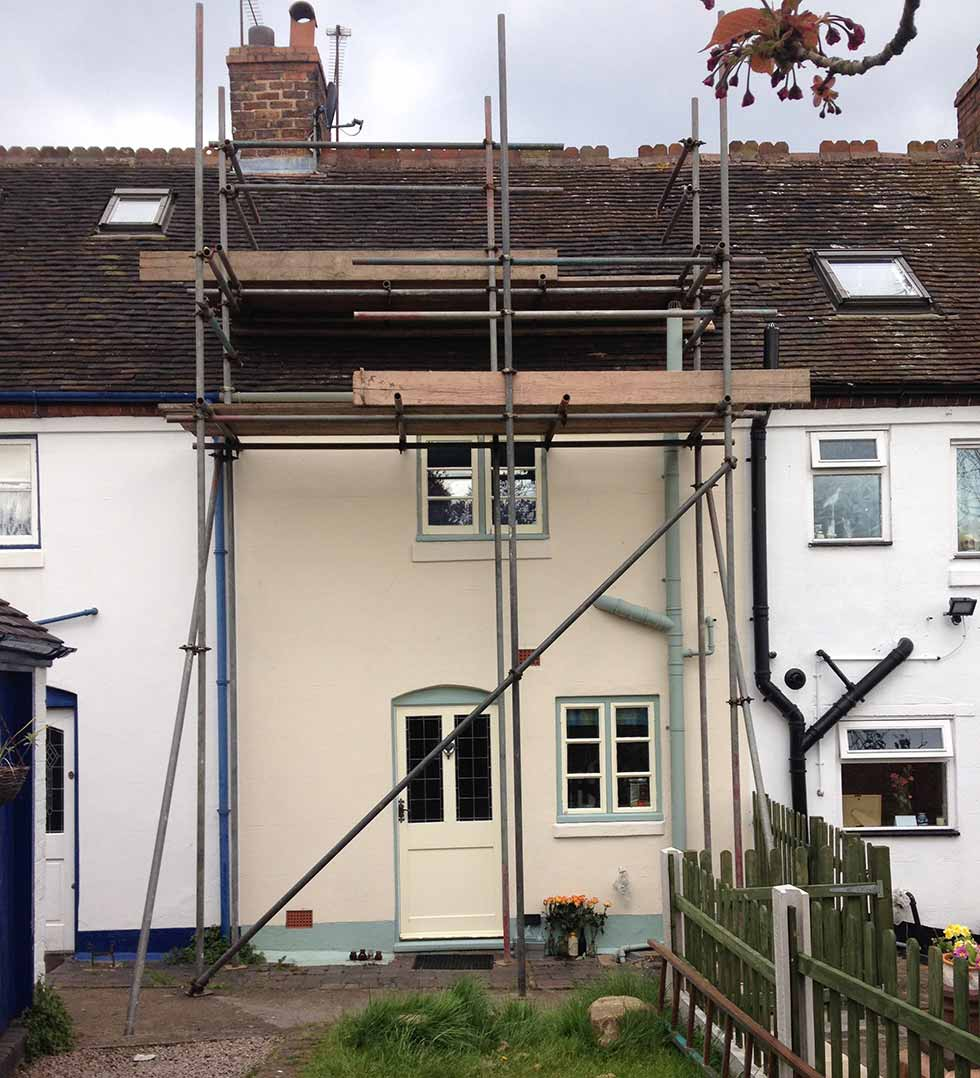Scaffold around a Victorian terraced home
