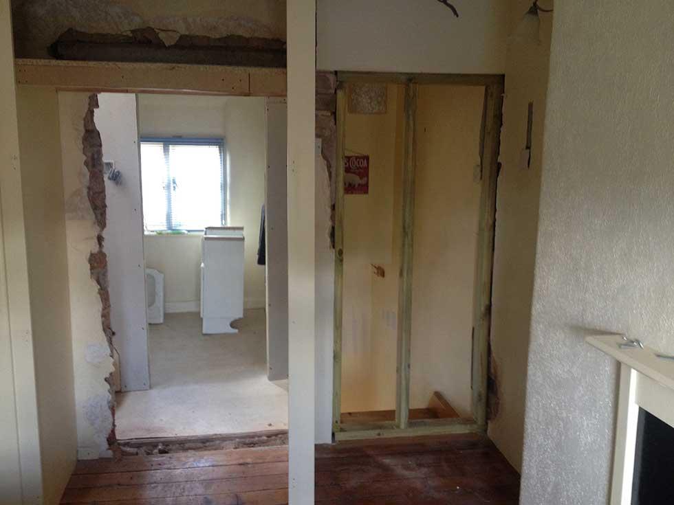 old doorway and new doorway in loft conversion