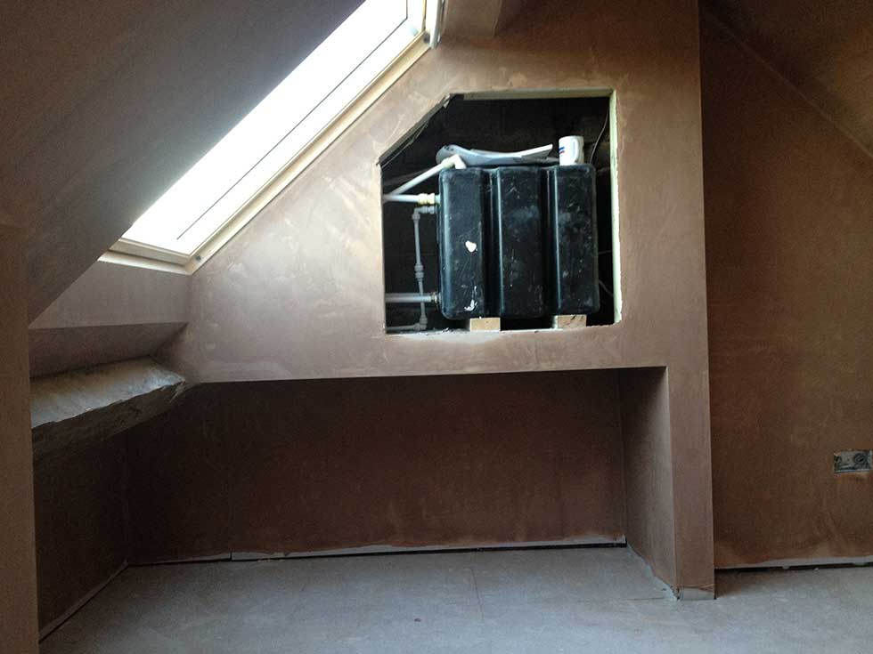 plastering complete in the loft