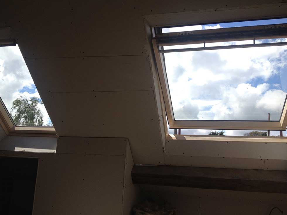 roof light and plasterboard wall slopes