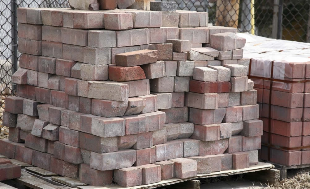 a pile of bricks on a pallet