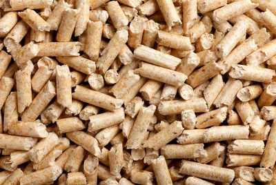 a pile of wood pellets