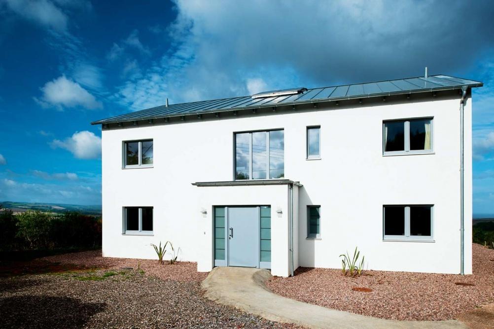 white render exterior passivhaus