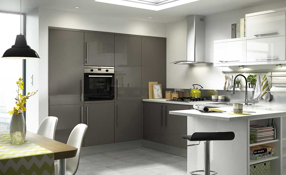 Contemporary kitchen with built in oven