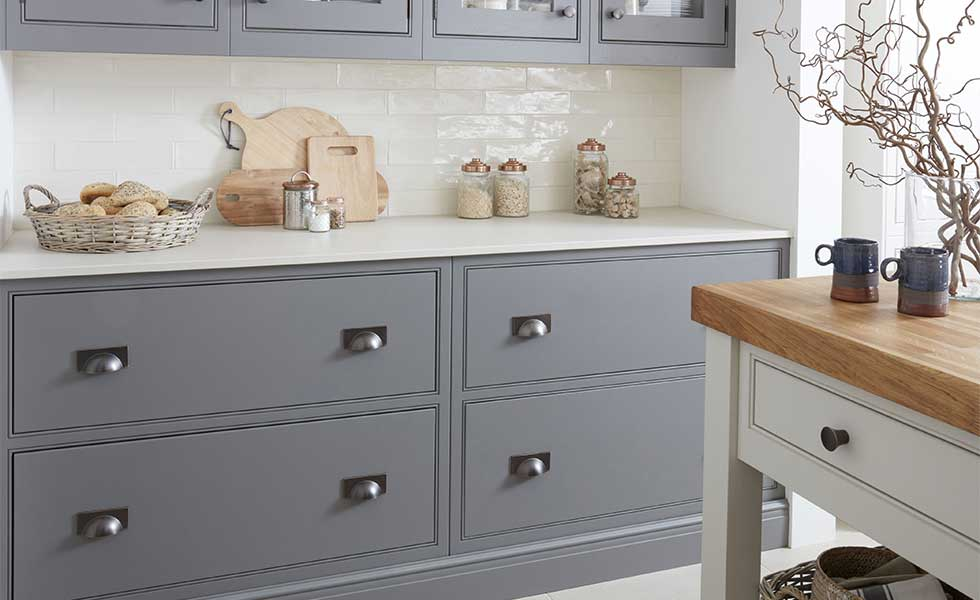 Deep kitchen drawers with cup handles