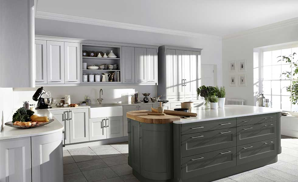 Shaker style kitchen with island unit