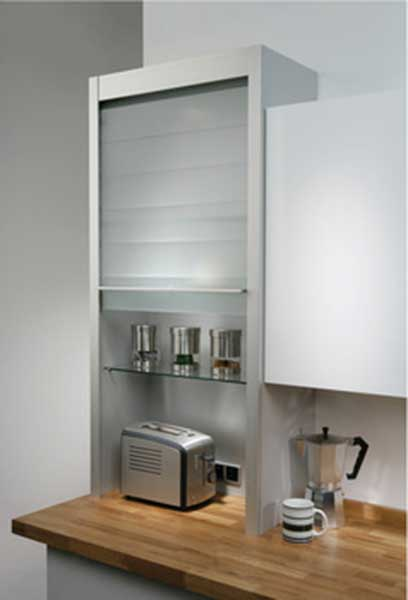 Kitchen unit with roller door