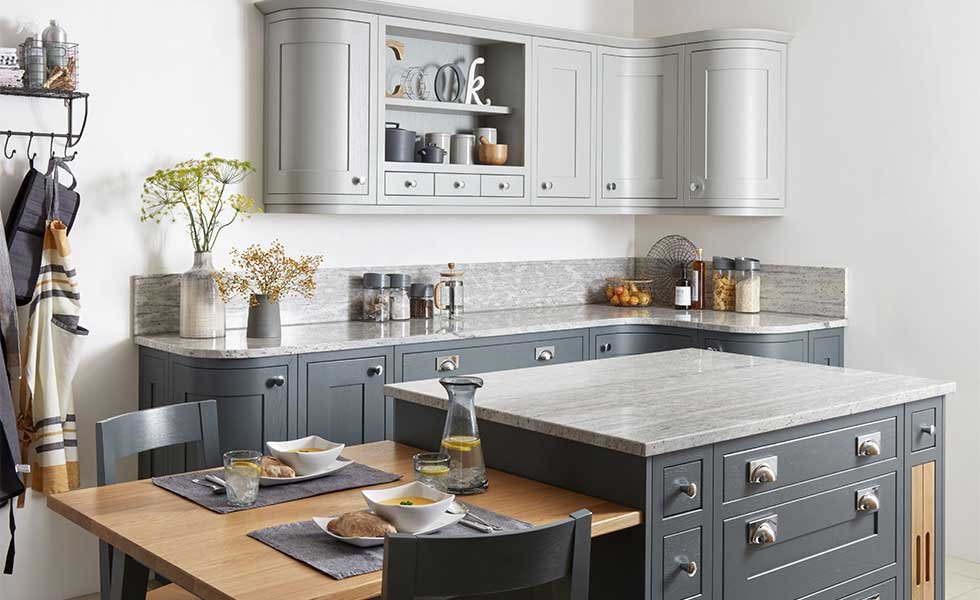 Grey kitchen with dining island