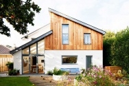 Exterior of self build with pitched roofs