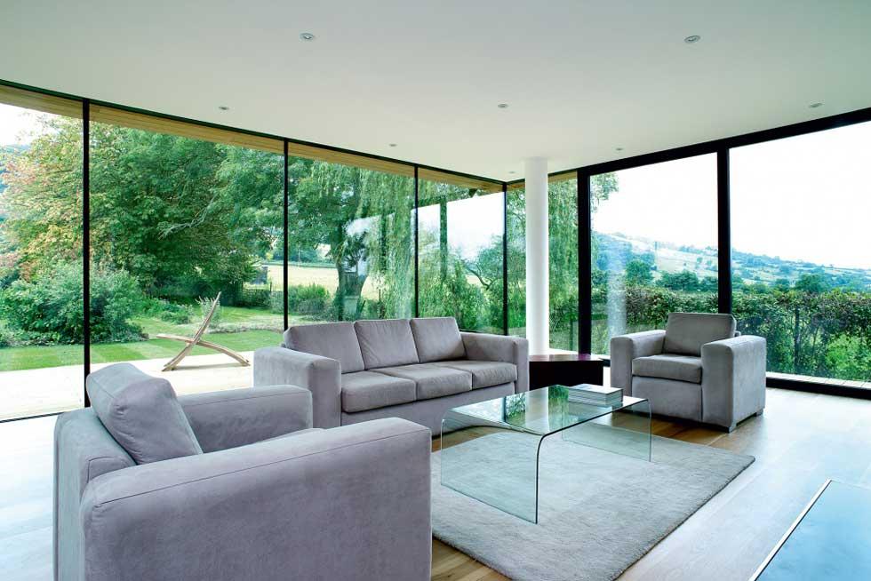 Passive solar gain in a floor to ceiling windowed living room