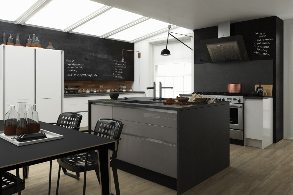 a blackboard painted kitchen with roof lights