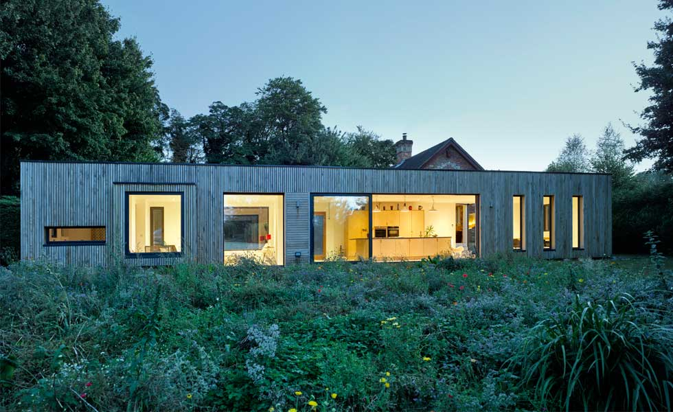 single storey clt extension to listed building timber clad
