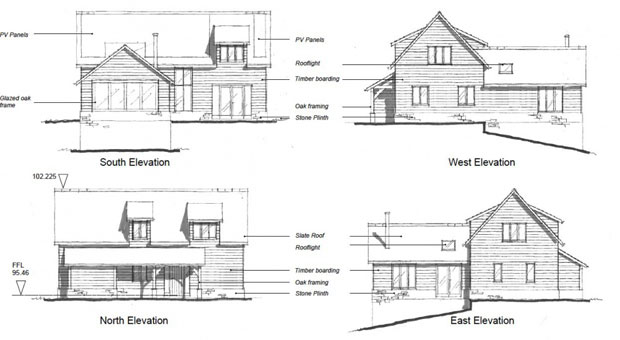 Front and rear elevation house plans