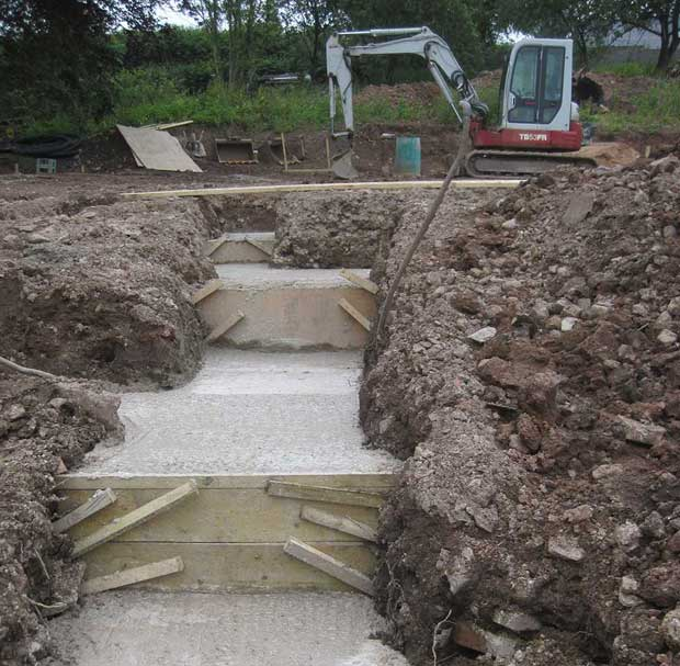 Filled concrete trenches on a sloping site