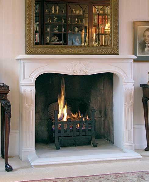 Grand stone fireplace