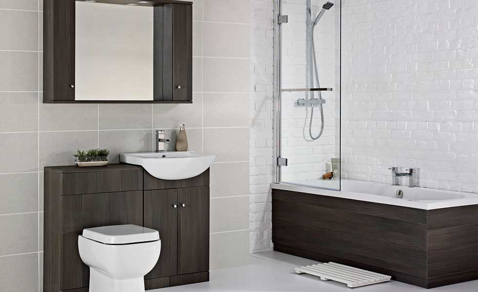 Bathroom with storage vanity unit