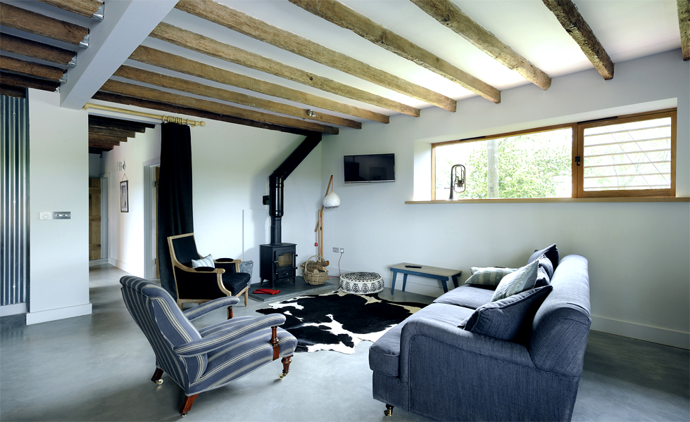 Living space and free standing log burner