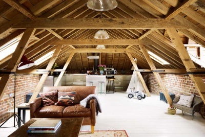 A loft conversion in a converted coach house