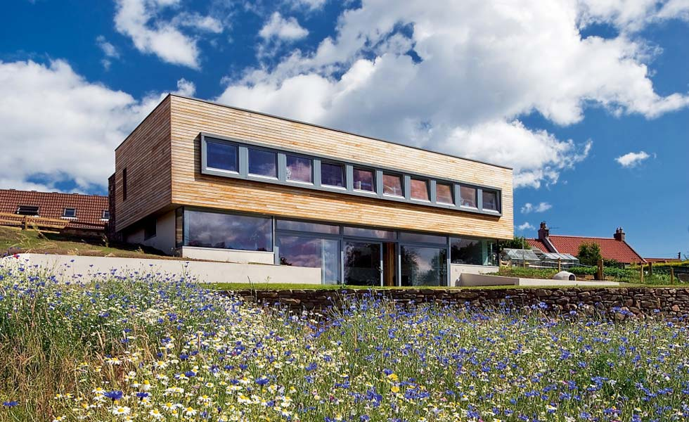 a passivhaus standard self build on a sloping site in Scotland