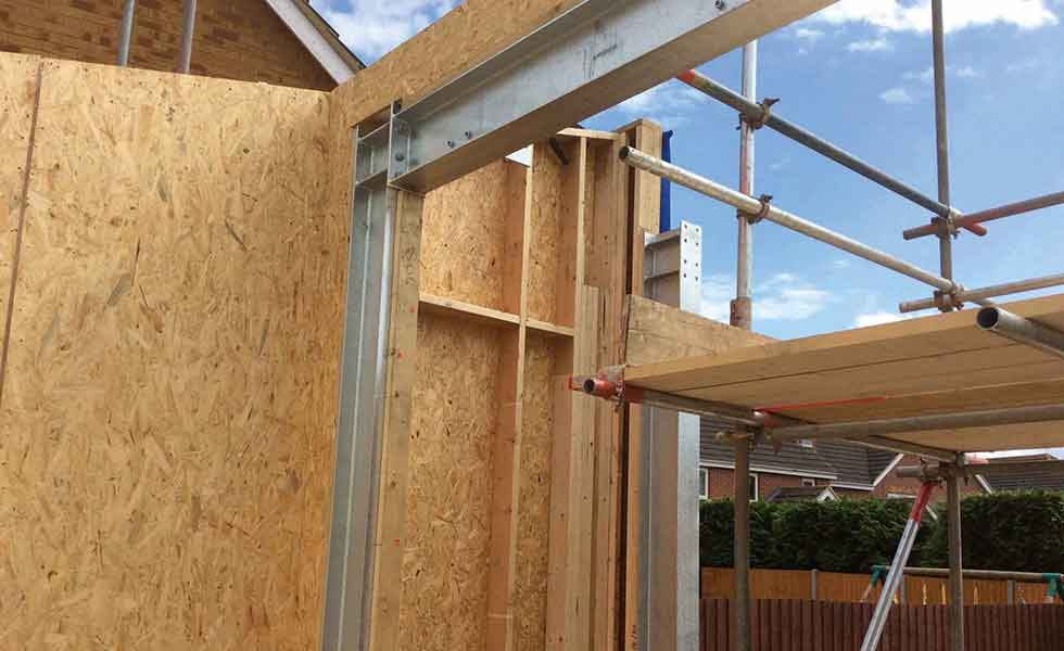 post and beam and metal joists for wall structure