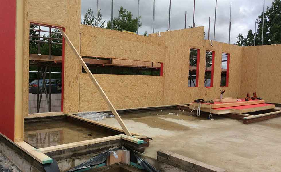 securing the walls panels for Passivhaus