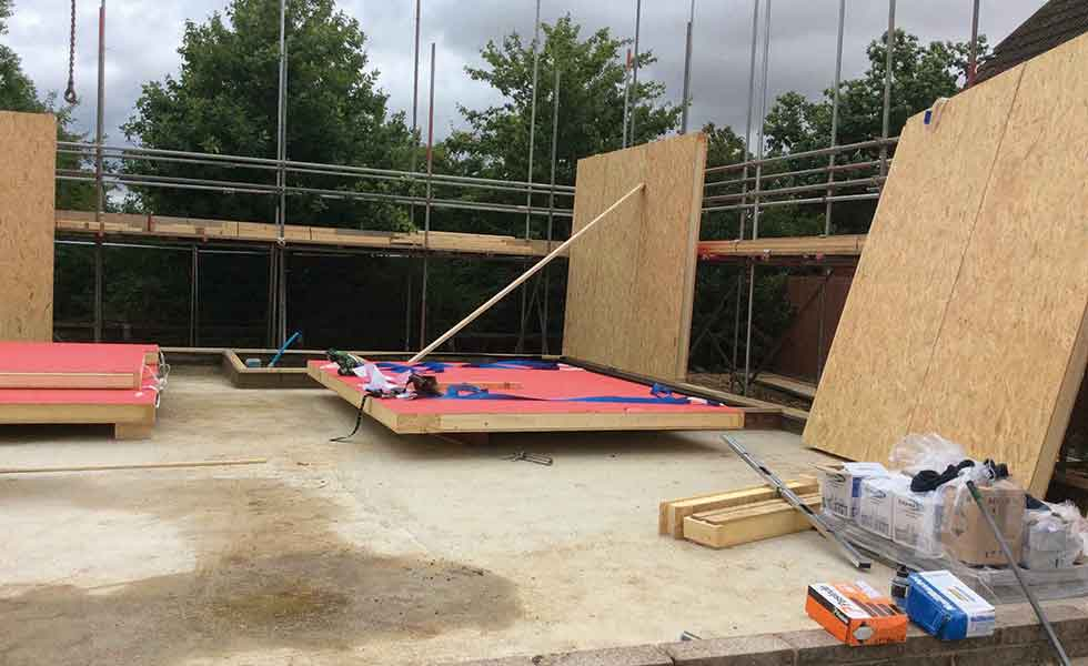 securing the first wall panel for a Passivhaus