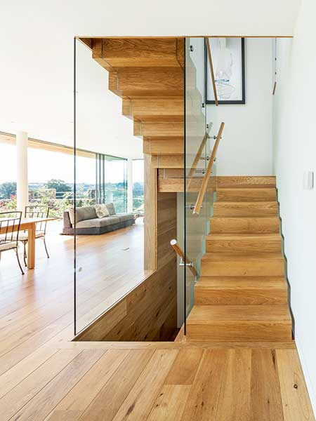 Frameless internal glazing has been used within the balustrades of this staircase