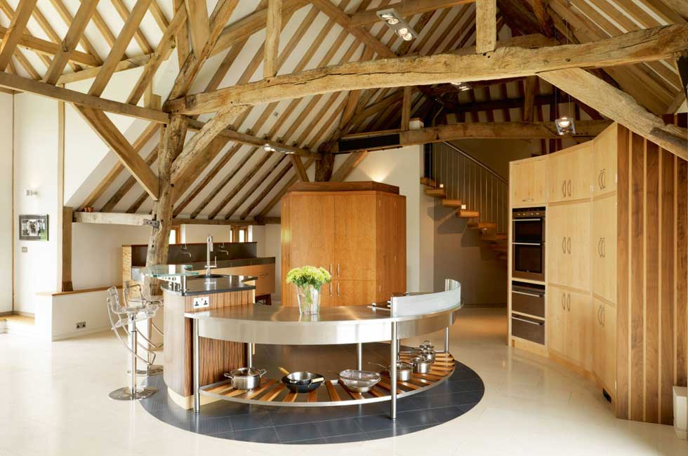 Charming Kitchen In A Barn Conversion With Round Central Island