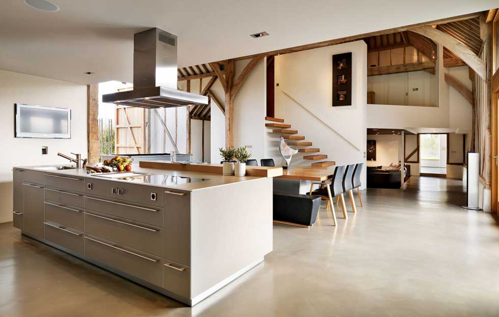 Kitchen In A Barn Conversion Design With Central Island