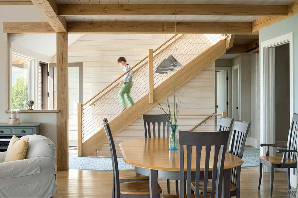 Open plan living in CJAB's beach house project in Maine