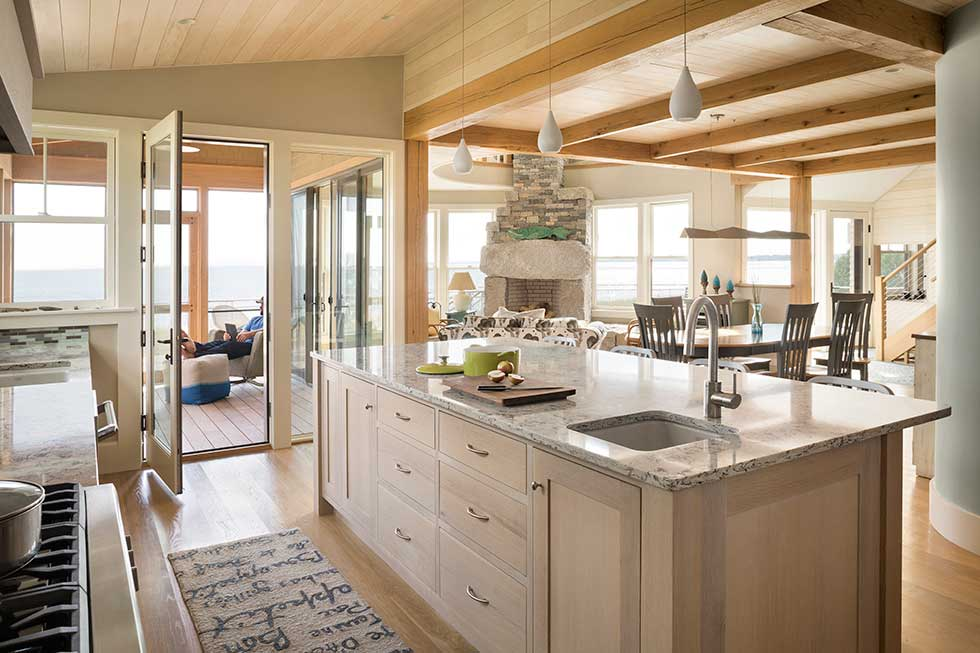 Interior shot of the kitchen island in CJAB's beach house in Maine