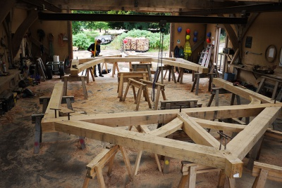 an oak frame cut and built in a workshop