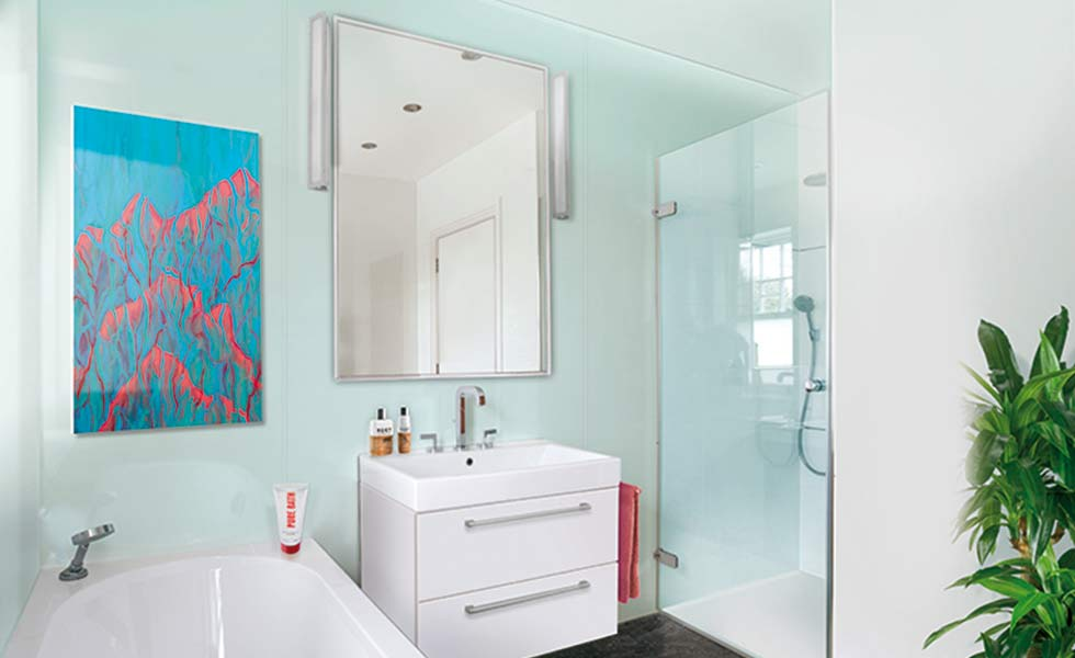 Multipanel bathroom panelling reflect blue mirror shower cubicle